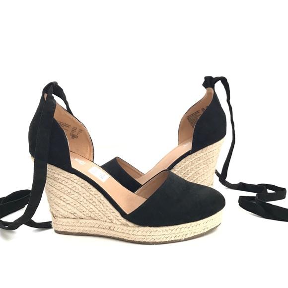 6fa237f7ec9 2⬇ Black Suede Lace Up Wedge Sandals Platform
